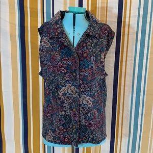 Floral Tapestry Carpet Button Down Vest Boho
